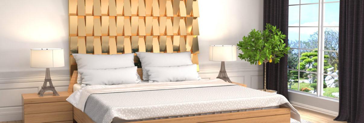 Chambre avec tête de lit originale