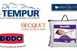 Marques d'oreiller : Tempur, Dodo, Becquet, Drouault et Dunlopillo