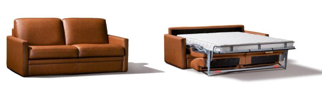 Canapé convetible en cuir marron ouvert et fermé