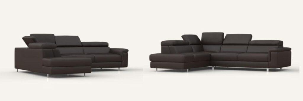 canapé en cuir noir Poltronesofa, 2 angles de vus