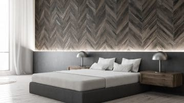 Image d'une chambre d'adulte design avec une déco corniche lumineuse