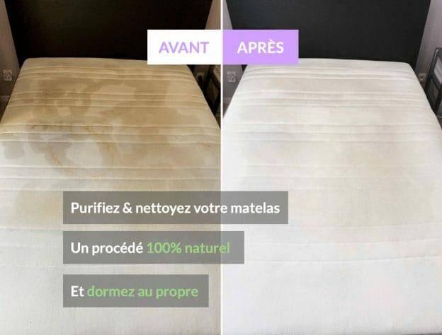 Photo avant et après un nettoyage de matelas par Bed-r